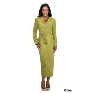 Giovanna Signature Women's Faux Suede 2-piece Skirt Suit (Option: 16)