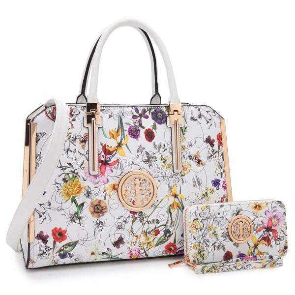 Shop Dasein Floral Faux Leather Briefcase Satchel Handbag