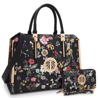 Dasein Floral Faux Leather Briefcase Satchel Handbag with Matching Wallet (Option: Black)