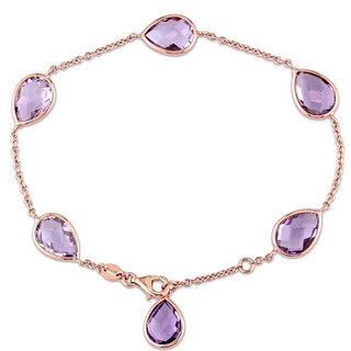 Miadora Signature Collection 18k Rose Gold Amethyst Teardrop Station Charm Bracelet
