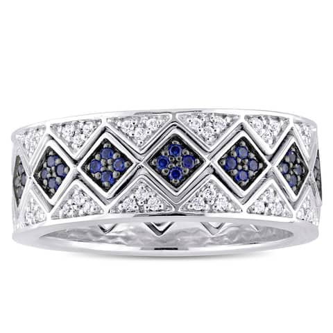 Miadora Sterling Silver with Black Rhodium Created Blue and White Sapphire Geometric Stackable Ring