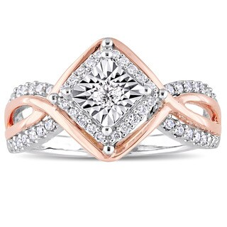 Miadora Signature Collection 2-Tone 10k White and Rose Gold 1/4ct TDW Diamond Crossover Engagement R