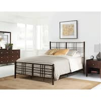 Manhattan Pewter-finished Metal King-sized Complete Bed Set
