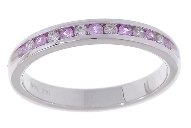 14k White Gold, 1/6 TDW Pink Sapphire and Diamond Ring