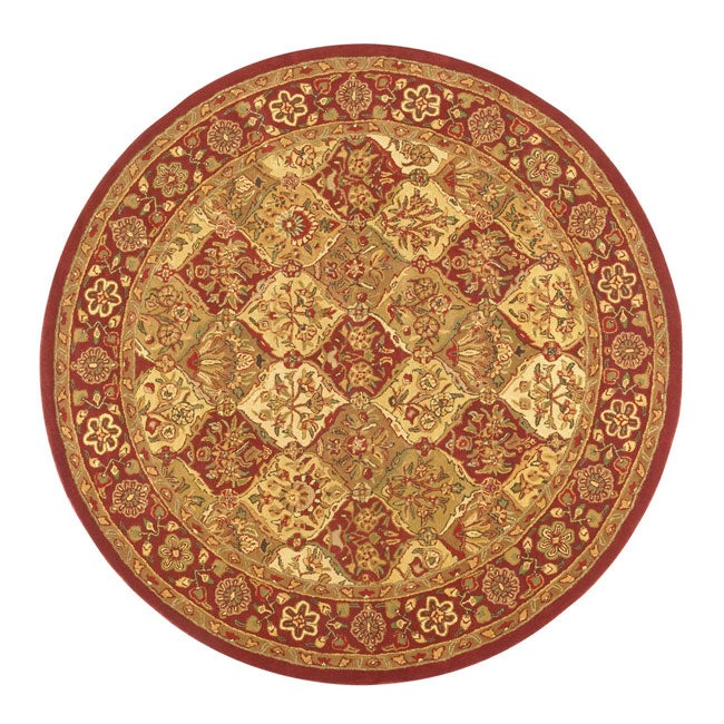 Hand-tufted Baktarri Red / Beige Wool Rug (6' Round)