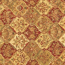 Hand-tufted Baktarri Red / Beige Wool Rug (6' Round) - Thumbnail 1