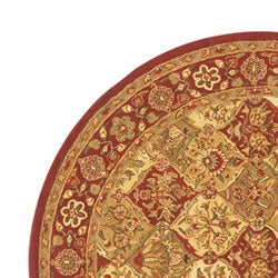 Hand-tufted Baktarri Red / Beige Wool Rug (6' Round) - Thumbnail 2