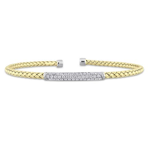 Miadora Signature Collection 2-Tone 14k White and Yellow Gold 1/2ct TDW Diamond Mesh-Style Woven Open Bangle