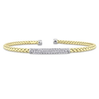 Miadora Signature Collection 2-Tone 14k White and Yellow Gold 1/2ct TDW Diamond Mesh-Style Woven Open Bangle