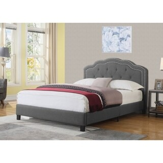 Best Quality Furniture Upholstered Fabric Platform Bed with Button Tufted Headboard