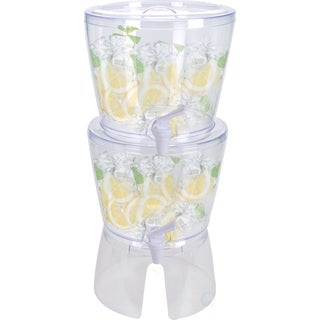 Set of 2 Stackable Juice and Water Beverage Dispensers with Stand, 2.8 Gallon