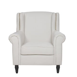 Traditional Linen Armchair with Nailhead Trim, Scroll Arm, Victorian Legs