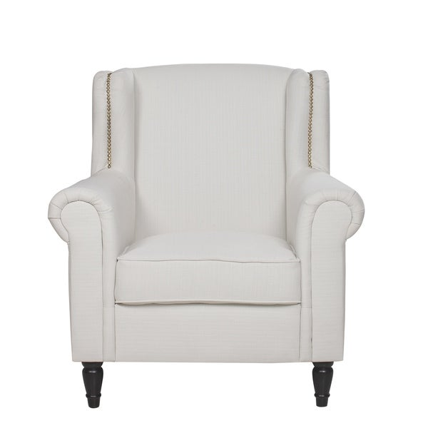 Shop Traditional Linen Armchair With Nailhead Trim Scroll