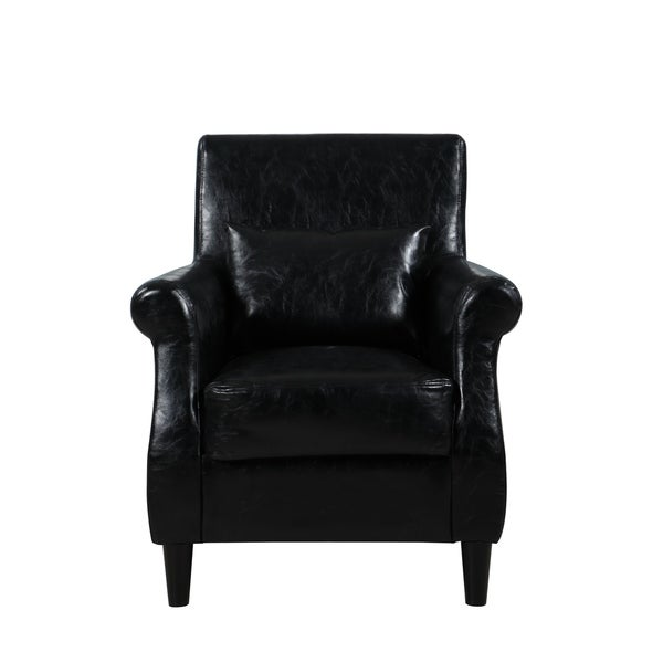 Modern Faux Leather Armchair, Accent Chair Home, Office, High Density