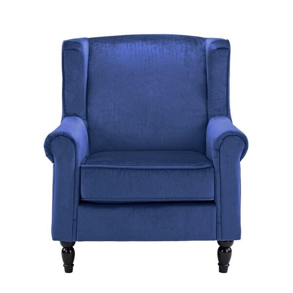 Shop Scroll Arm Accent Chair Velvet W Dark Wood Legs High Density