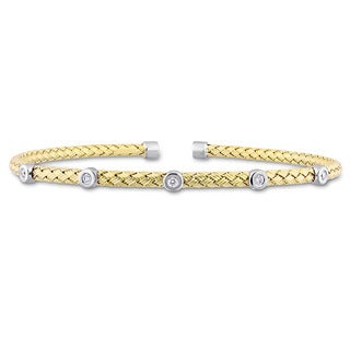 Miadora Signature Collection 2-Tone 14k White and Yellow Gold 1/10ct TDW Diamond Station Mesh-Style Woven Open Bangle
