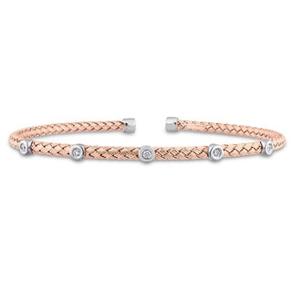 Miadora Signature Collection 2-Tone 14k White and Rose Gold 1/10ct TDW Diamond Station Mesh-Style Woven Open Bangle