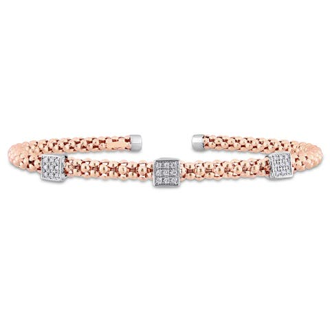 Miadora Signature Collection 2-Tone 14k Rose and White Gold 1/8ct TDW Diamond Popcorn Station Open Bangle