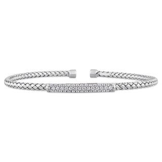 Miadora Signature Collection 14k White Gold 1/2ct TDW Diamond Mesh-Style Woven Open Bangle