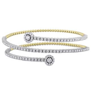 Miadora Signature Collection 2-Tone 14k White and Yellow Gold 1-3/4ct TDW Diamond Spiral Cuff Bracelet|https://ak1.ostkcdn.com/images/products/17794762/P23990242.jpg?impolicy=medium