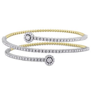 Miadora Signature Collection 2-Tone 14k White and Yellow Gold 1-3/4ct TDW Diamond Spiral Cuff Bracelet