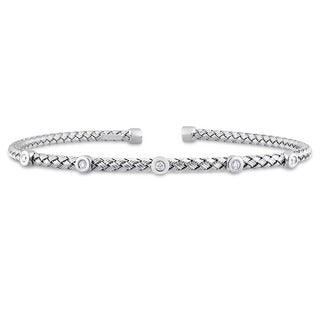 Miadora Signature Collection 14k White Gold 1/10ct TDW Diamond Station Mesh-Style Woven Open Bangle