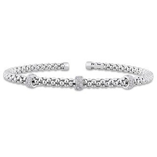 Miadora Signature Collection 14k White Gold 1/5ct TDW Diamond Popcorn Rondelle Open Bangle