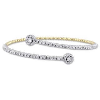 Miadora Signature Collection 2-Tone 14k White and Yellow Gold 1-1/6ct TDW Diamond Studded Bypass Bracelet
