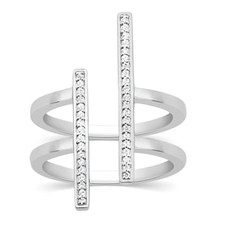 Sterling Silver 1/6ct TDW Diamond Double Band Ring