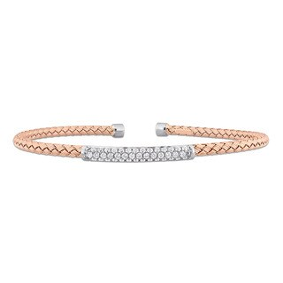 Miadora Signature Collection 2-Tone 14k White and Rose Gold 1/2ct TDW Diamond Mesh-Style Woven Open Bangle
