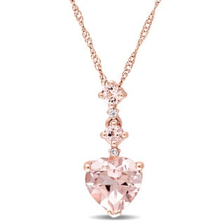 Miadora Signature Collection 14k Rose Gold Morganite and Diamond Accent Graduated Tiered Heart Necklace