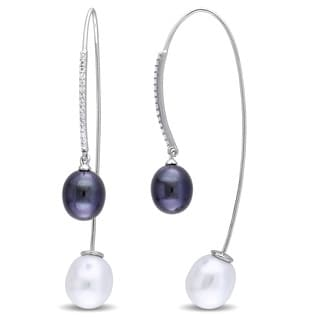 Miadora Sterling Silver White and Black Cultured Freshwater Pearl and White Topaz Threader Front-Back Earrings (8-10 mm)