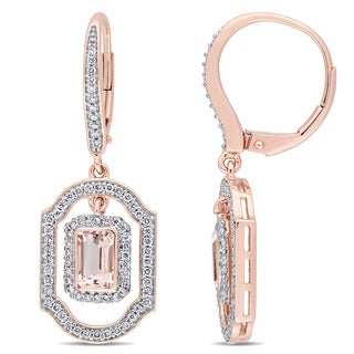 Miadora Signature Collection 14k Rose Gold Morganite and 3/5ct Diamond Geometric Leverback Dangle Earrings