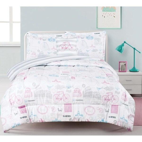 World Traveler 4-piece Comforter Set with Decorative Pillow