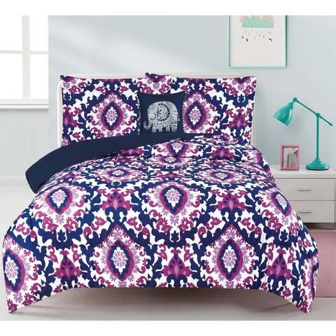 Calabria Damask 4-piece Comforter Set with Decorative Pillow