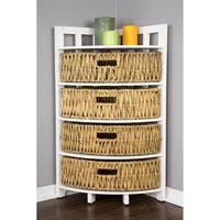 Vale Corner Cabinet with 4 Hyacinth Storage Baskets