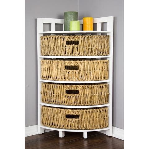 Vale Corner Cabinet with 4 Hyacinth Storage Baskets