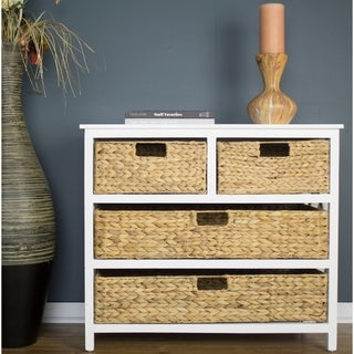 Vale Accent Cabinet with 4 Hyacinth Storage Baskets