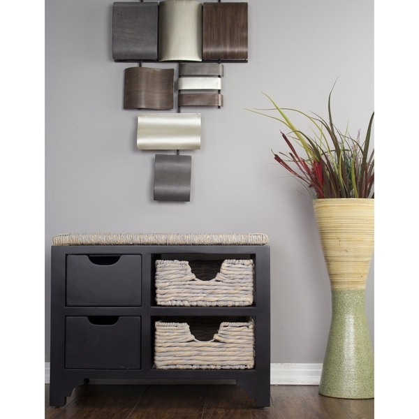 Vale Seagrass Top Storage Bench w/ 2-Drawers and 2 Hyacinth Storage Baskets