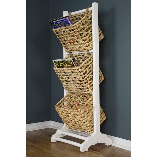 Vale 3-Tier Magazine Rack with 3 Hyacinth Storage Baskets