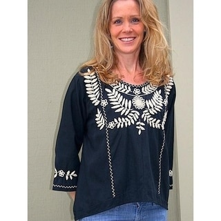 Black cotton blouse with cream floral hand-embroidery