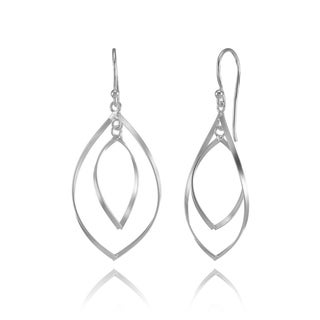Mondevio Sterling Silver Double Curved Marquise Design Dangle Earrings