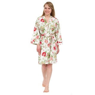 Leisureland Women's Cotton Poplin Robe, Short Kimono Floral Robe