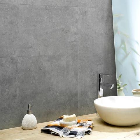 Dumawall 14.76 in. x 25.59 in. Vinyl Interlocking Waterproof Smoked Steel Wall Tile/Backsplash (8 Pack)