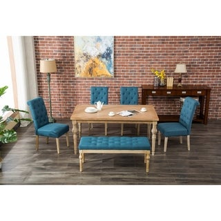The Curated Nomad Dunbar Habitanian 6-piece White Wash Dining Set with Bench Seating
