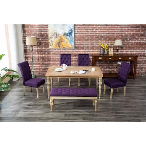 The Curated Nomad Dunbar Habitanian 6 Piece White Wash Dining Set With Bench Seating