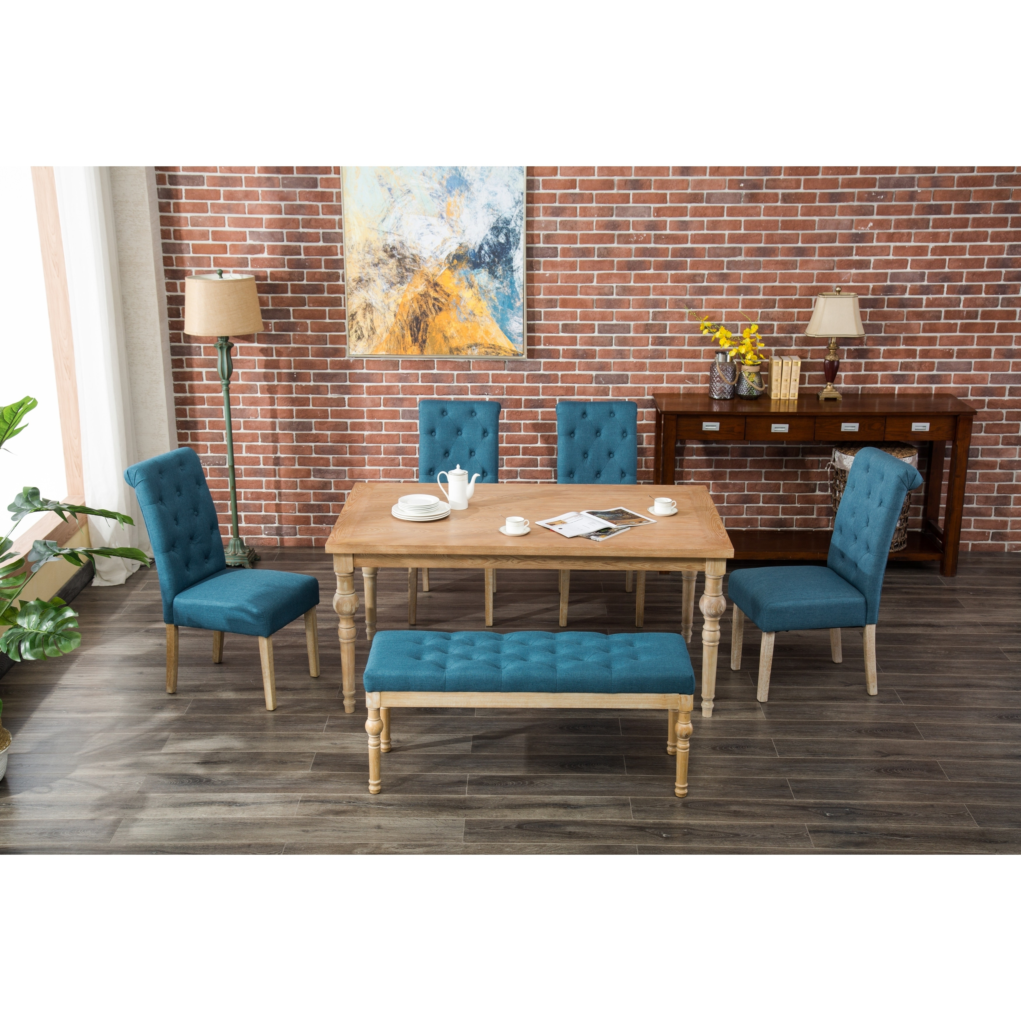 Habitanian 6 Piece White Wash Dining Set With Bench Seating