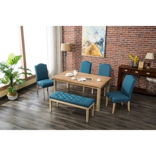 Marseille 6-Piece White Wash Dining Set with Nailhead Chairs and Bench