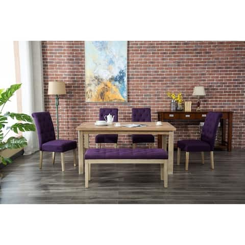 Lyon 6-Piece White Wash Dining Set with Button Tufted Chairs