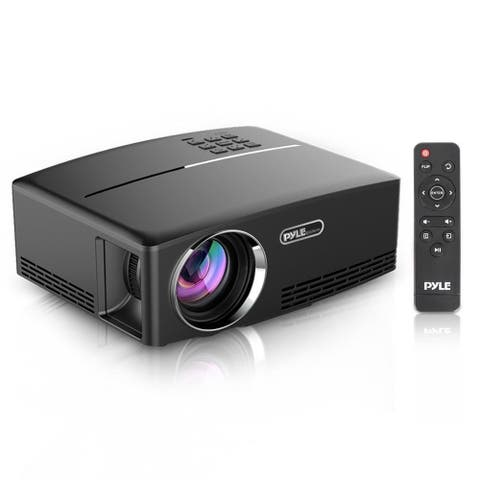 Pyle PRJG98 Compact Digital Projector, HD 1080p Support, Built-in Speakers, HDMI/USB/VGA